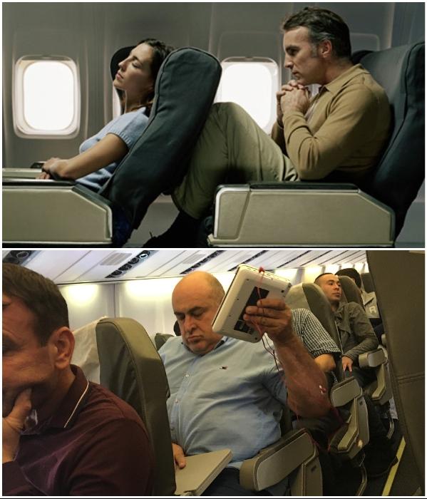 Кресла эконом-класса – настоящая пытка для большинства пассажиров. | Фото: 123ru.net/ pikabu.ru,  © Zephyr Aerospace.