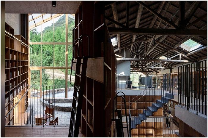Общие лаунж-зоны необычного отеля тоже заставлены полками и стеллажами с книгами («Liuyue Capsule Hotel», Китай). | Фото: worldarchitecture.org.