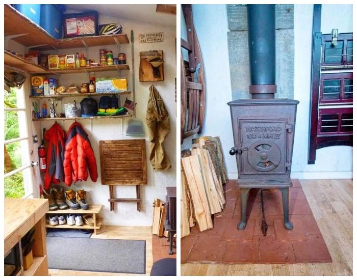 В холодную пору дом отапливается помощью дровяной печи («Крошечный дом-трансформер»). | Фото: hronika.info.