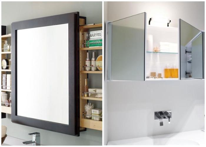 Зеркальные шкафчики для ванной комнаты.