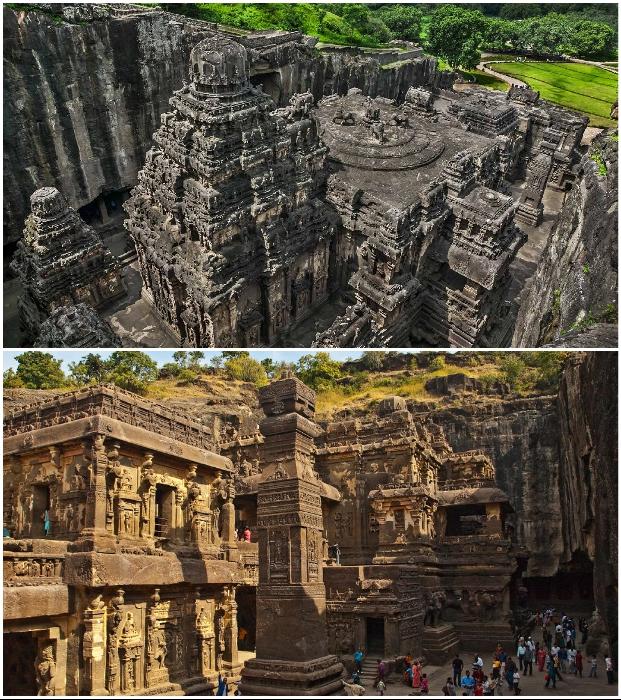29-метровый главный индуистский храм возвышается над скальным комплексом (Кайласанатха, Индия).