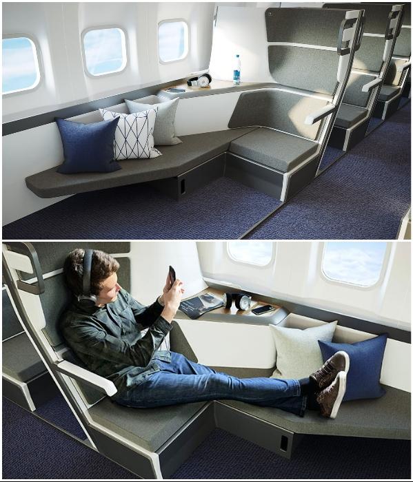 Вскоре пассажиры эконом-класса смогут в самолете выспаться, поработать и в уединении отдохнуть. | Фото: republic.co/ style.yahoo.com.tw, © Zephyr Aerospace.