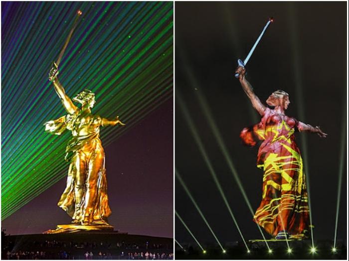 В последнее время инсталляции и подсветка монумента «Родина-мать зовет!» более чем удивляют волгоградцев. | Фото: news.myseldon.com/ newzz.in.ua.