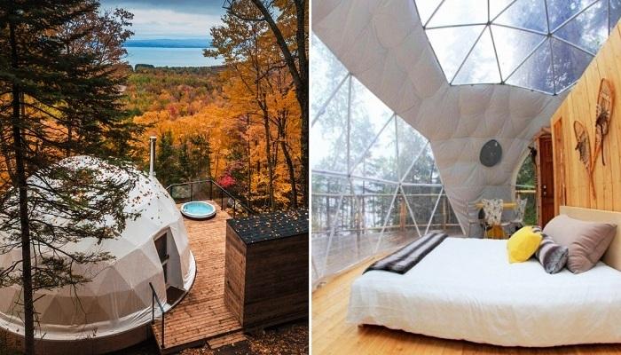 Эко-отель Domes Charlevoix имеет вместо стандартных номеров комфортабельные палатки (Канада).