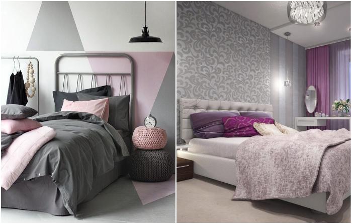 Сочетание серых тонов с розовыми и фиалковыми оттенками – идеальный вариант для оформления спальни творческой личности. | Фото: bezkovrov.com/ tvoydesigner.ru.