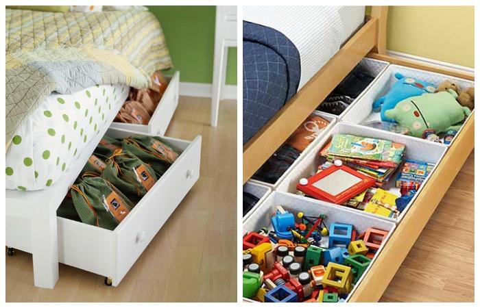 Под диваном или кроватью в ящиках можно хранить игрушки и другие вещи.