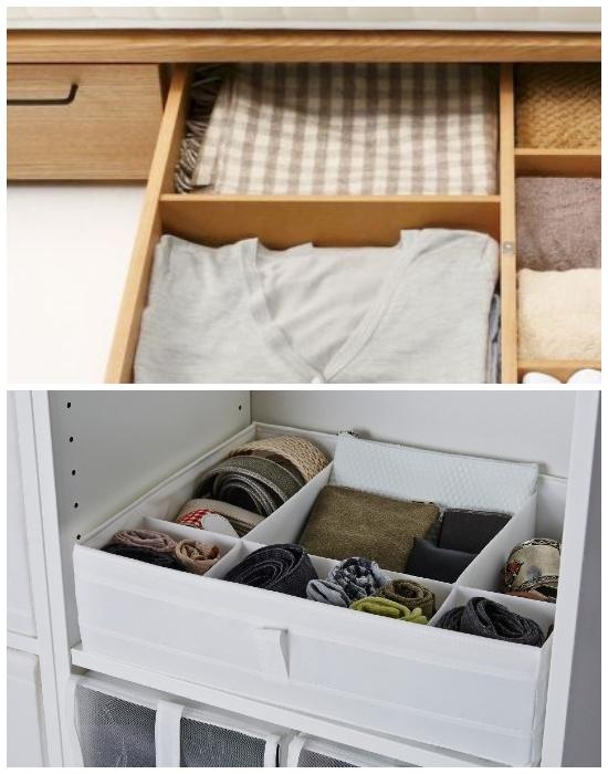 В ящиках и коробках нужно организовать разделительные ячейки. | Фото: legko.com.