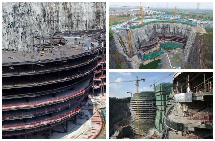 Этапы строительства самого невероятно отеля в нынешнем веке (Songjiang InterContinental, Китай).