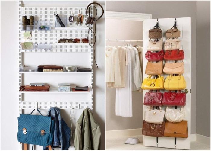 Дверцы вещевых шкафов и гардеробных можно приспособить под хранение легких вещей. | Фото: archidea.com.ua.