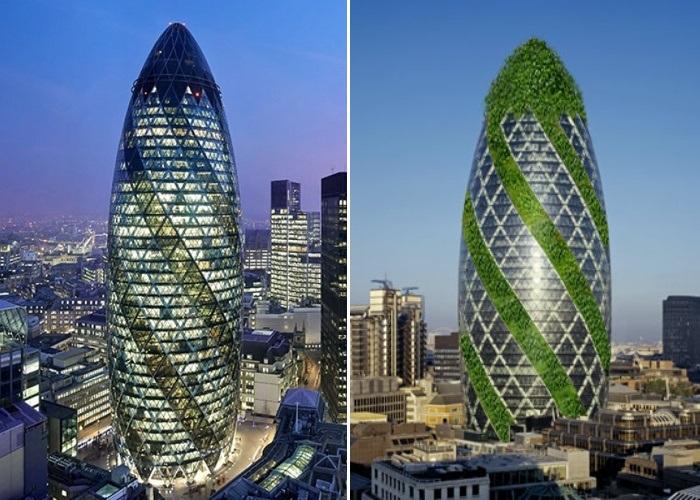 Из-за формы, явно напоминающей овощ, огромный небоскреб прозвали «The Gherkin» (Лондон, Великобритания). | Фото: commerciallistings.cbre.co.uk.