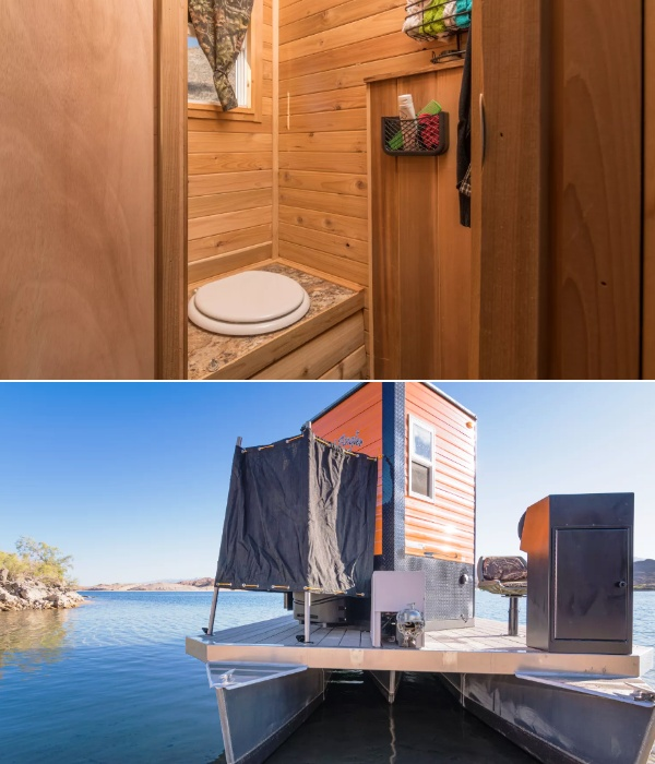 В самом кемпере есть только туалет, а вот душ пришлось устраивать на палубе (Heidi-Ho). | Фото: houseboatmagazine.com.