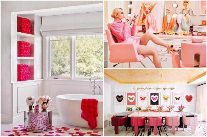 Несколько комнат в доме Кайли Дженнер сделаны в любимом розовом цвете. | Фото: cosmopolitan.com.