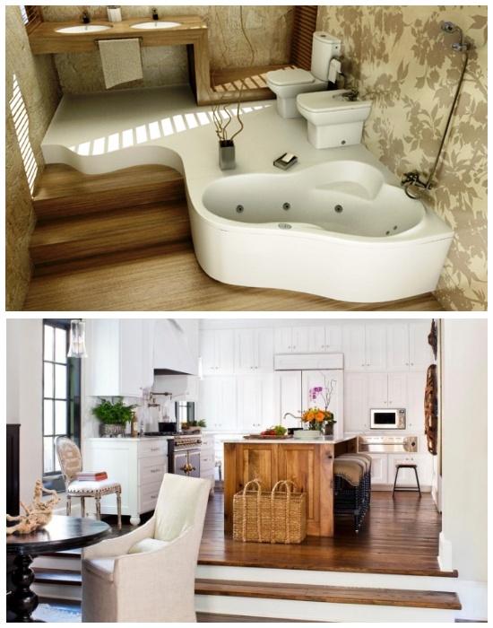 Многофункциональные подиумы можно организовать даже в кухне и ванной. | Фото: design-homes.ru.