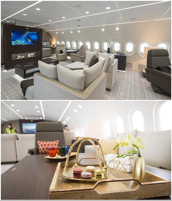 В этом самолете иллюминаторы заметно больше обычных (VVIP Boeing787 Dream Jet).   Фото: kestrelaviation.com.