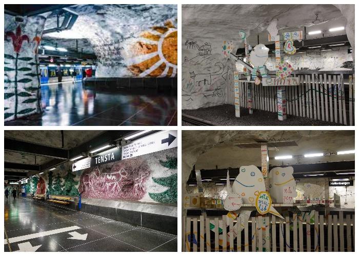 Так выглядят станции «Тенста (Tensta)» и «Халлонберген (Hallonbergen)» (Стокгольм, Швеция).