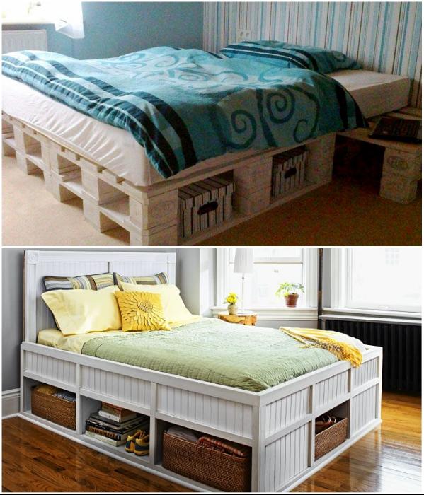 Из паллетов можно сделать многофункциональную кровать, если правильно рассчитать конструкцию. | Фото: yandex.ru/ remont-spalni.ru.