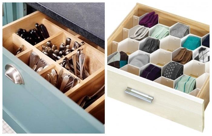 Если в ящиках установить перегородки или ячейки, то поместится больше вещей.