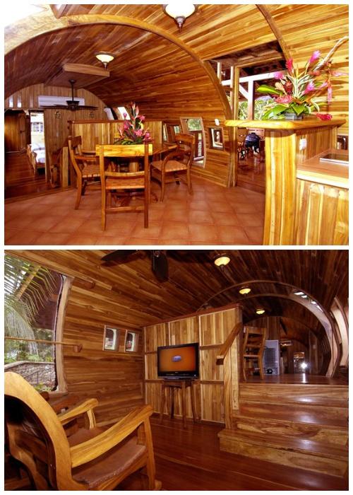 Интерьер гостиной и столовой отеля-самолета (Hotel Costa Verde). | Фото: lifeglobe.net.