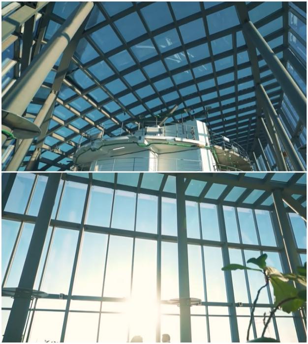 Потолок, расположенный на уровне 12 м, сделан полностью из стекла, впрочем, как и сами стены («Платиновые апартаменты», «Башня «Восток»).