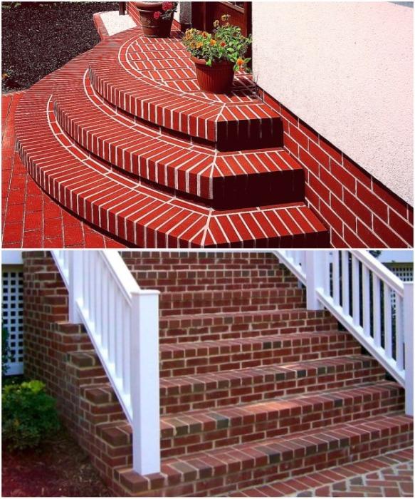 Крыльцо из кирпича – надежное решение для оформления дома. | Фото: obustroeno.com.