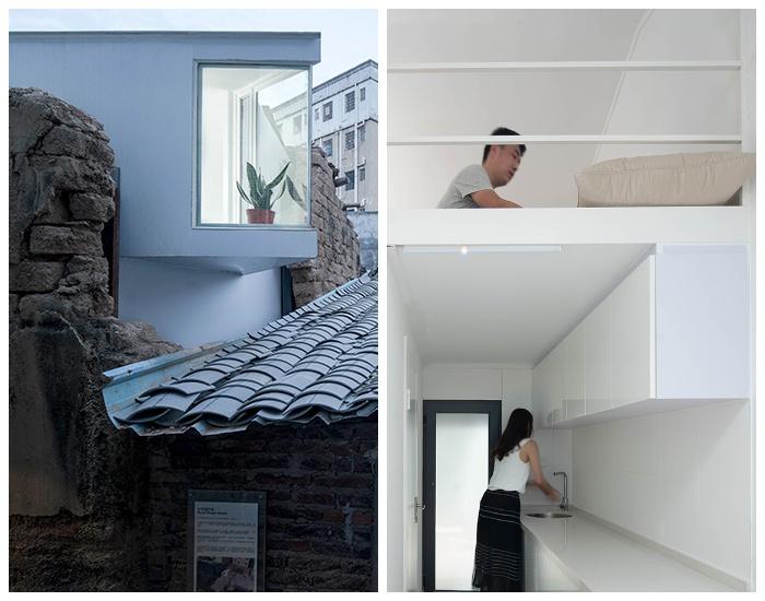 Спальню с большим окном расположили на уровне мезонина (Plugin House 15 кв. метров). | Фото: thecsrtimes.com.