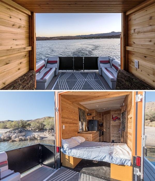 Благодаря открывающейся задней стенке кемпера удалось организовать идеальную зону отдыха (Heidi-Ho). | Фото: curbed.com.