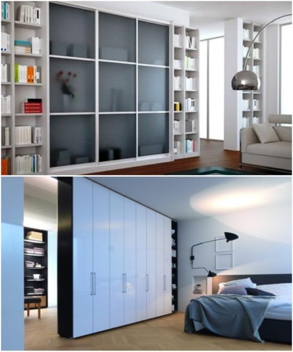 Встроенная мебель может выполнять функцию межкомнатной перегородки. | Фото: flatwood.com.ua.
