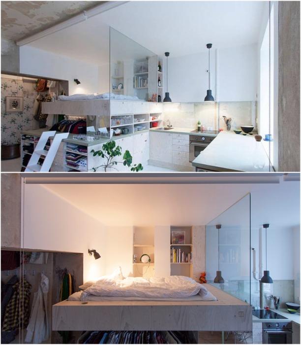 Спальню удалось оформить на втором ярусе, что значительно увеличило свободное пространство в крошечной квартире. | Фото: contemporist.com.