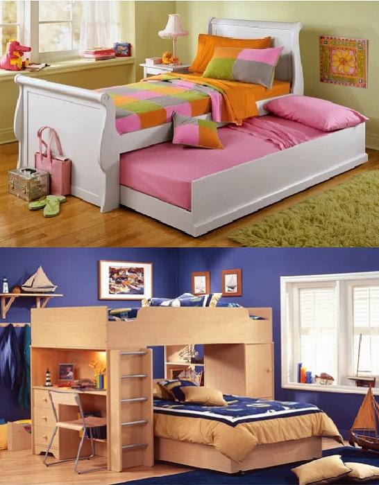 Как расположить двухъярусные кровати.