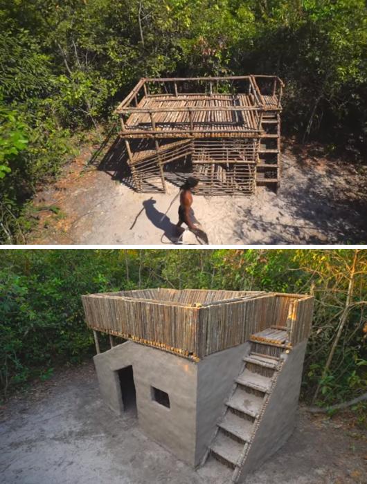 С помощью подручных материалов и простейшего инструмента молодой человек построил каркас будущего дома. | Фото: youtube.com/ © Primitive Unique Tool.
