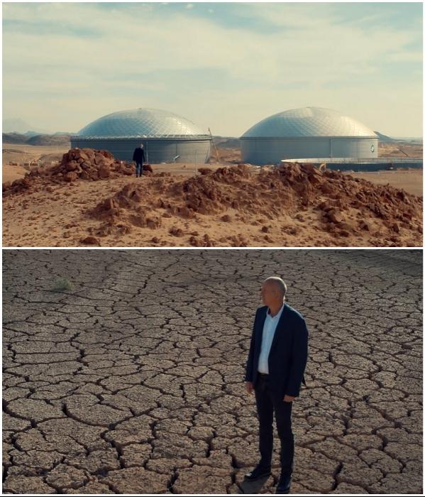 Опреснители морской воды и облака, обеспечивающие дожди, помогут избежать засухи в пустыне (NEOM). | Фото: youtube.com/ © NEOM.