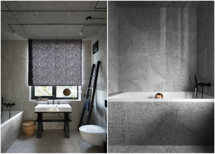 Ванная комната выполнена в серых тонах (Wabi Sabi Apartment).
