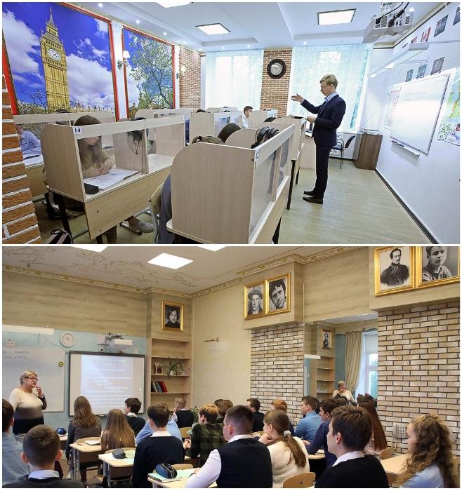 Лингвистическая классная комната и класс литературы теперь выглядят так (Екатеринбургская школа № 106). | Фото: rg.ru/ © Татьяна Андреева.