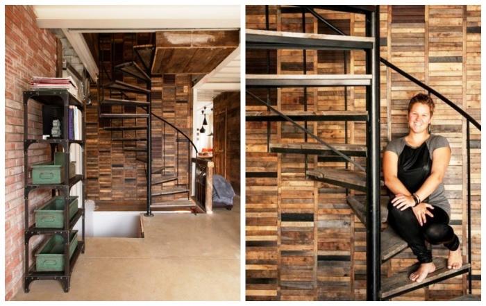 Винтовая лестница в интерьере контейнерного дома. | Фото: viraldiario.com.