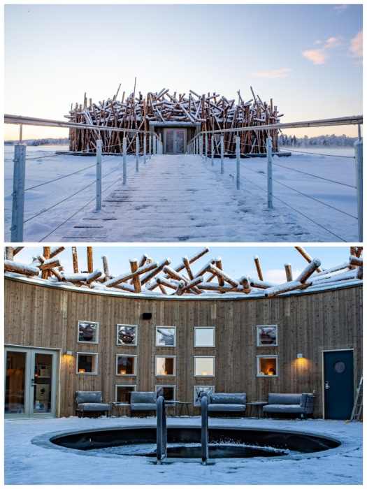 Внутри круглого сооружения «Arctic Bath» есть бассейн, которым можно пользоваться даже в зимнюю стужу. | Фото: newatlas.com.