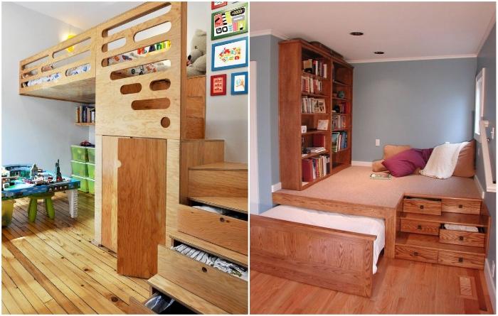 Лестницу, ведущую на кровать-чердак или подиум можно тоже сделать многофункциональной. | Фото: pinterest.ca/ radardetectors.ru.