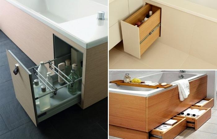 Место под ванной тоже можно оборудовать выдвижными ящиками. | Фото: zapiskioremonte.ru/ novate.ru.