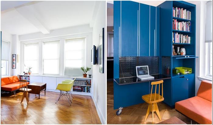 Зона гостиной легко превращается в домашний офис (Unfolding apartment, Манхэттен).