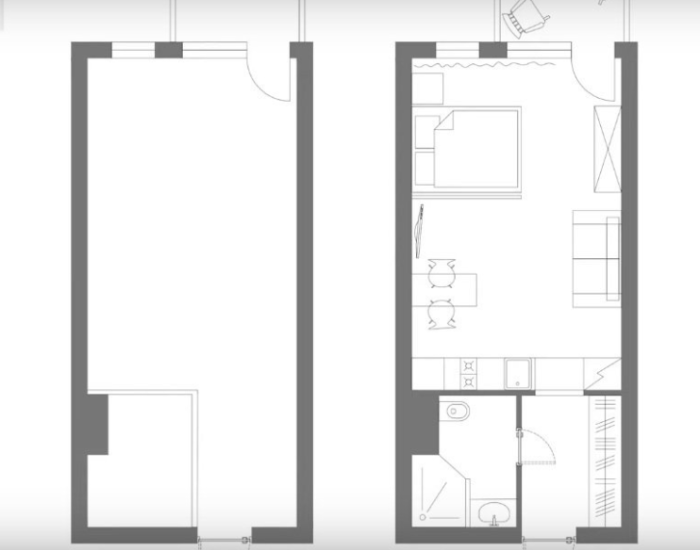 План-чертеж создания отдельных зон в квартире-студии 33 кв.м. | Фото: inmyroom.ru.