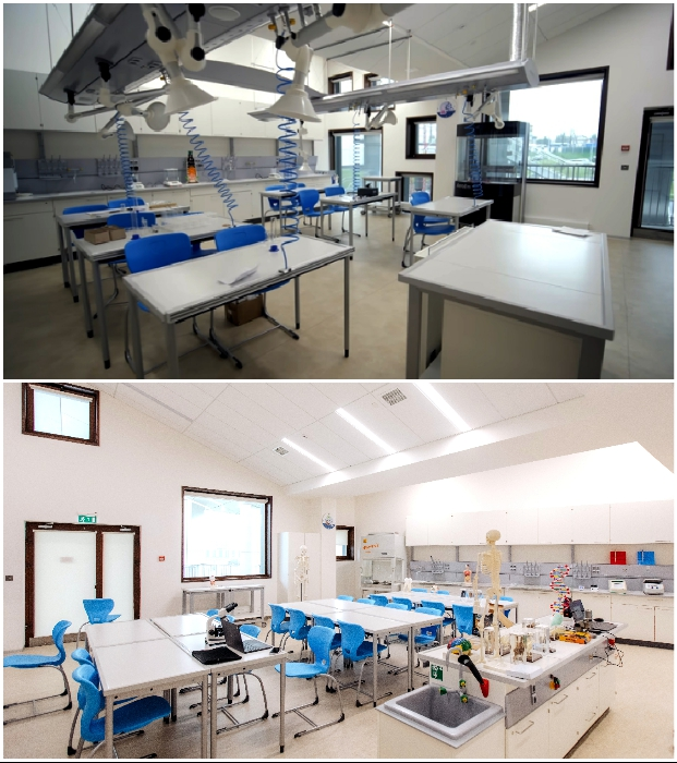 Учебные кабинеты химии и биологии оборудованы соответствующими приборами и эргономичной мебелью («Точка будущего», Иркутск).