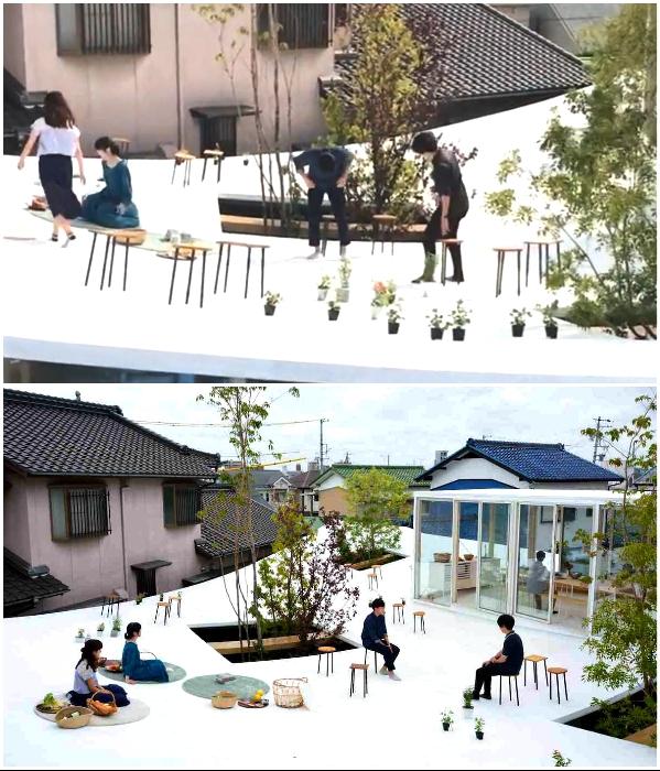 Можно пообедать и на крыше, наслаждаясь свежим воздухом и общением («Sannouno», Япония). | Фото: djournal.com.ua./ youtube.com, © studiovelocity.