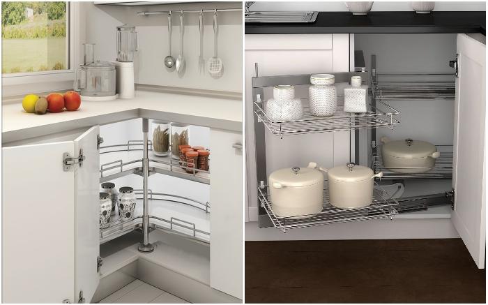 Выдвижные полки в угловых шкафах – идеальный вариант для оптимизации пространства маленьких кухонь.