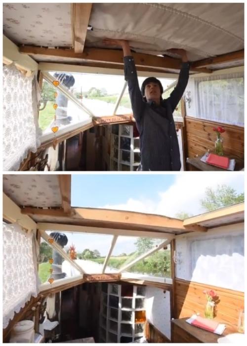 Крыша над частью плавучего летнего домика можно сложить как в кабриолете. | Фото: dailymail.co.uk.