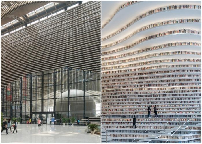 В Китае открылась самая необычная библиотека в мире (Tianjin Binhai Library).