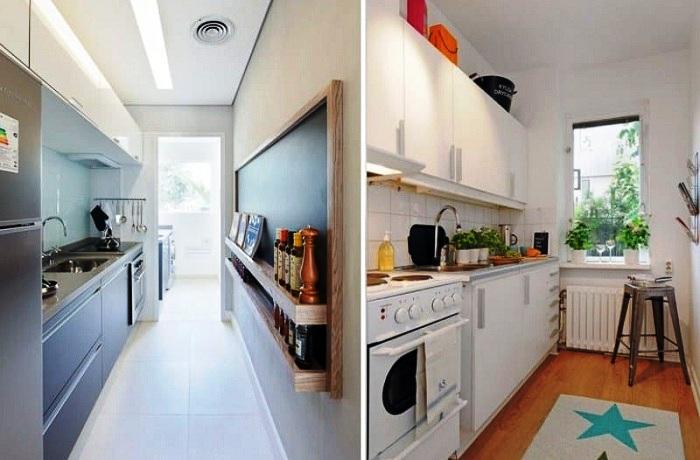 Линейная планировка очень узкой кухни.