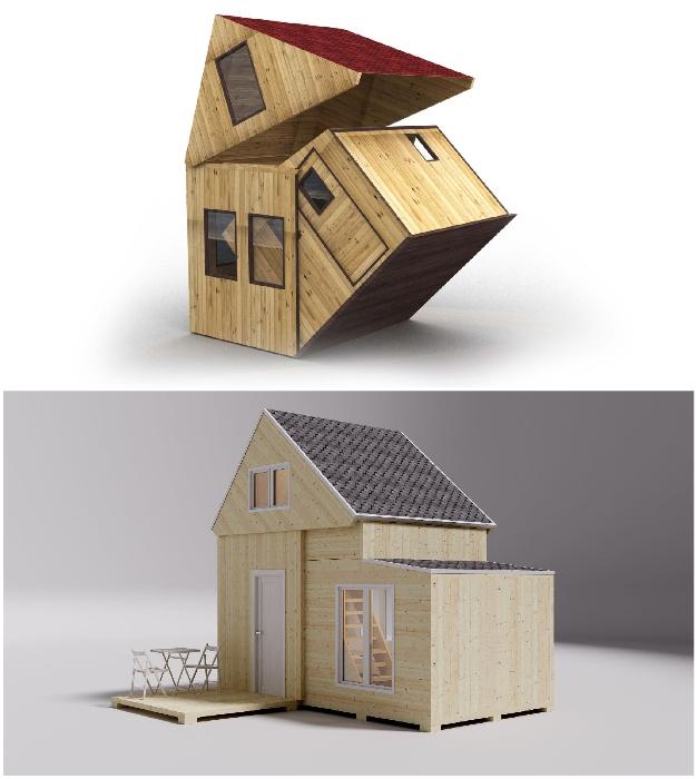 Благодаря шарнирной системе развертывания специалисты фирмы смогли создать компактный дом, который можно брать с собой в поездки (Brette Haus).