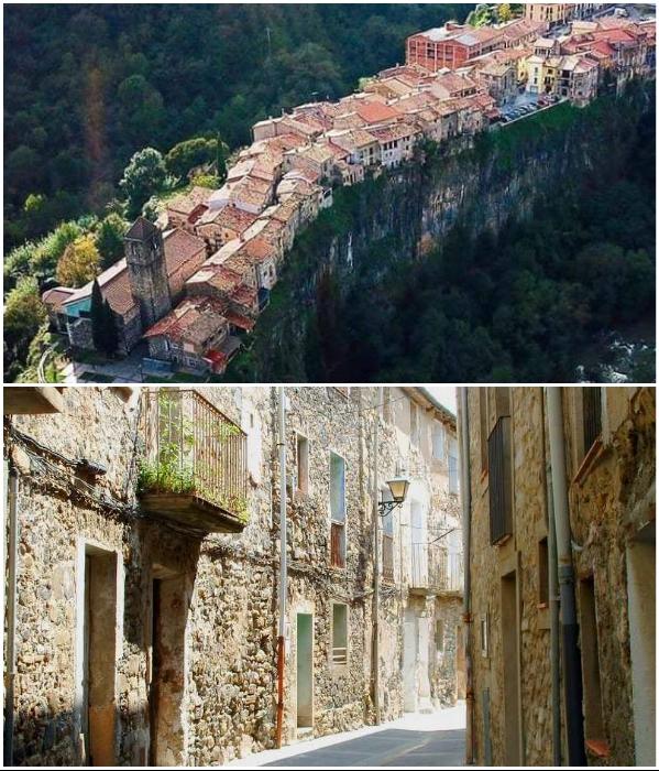 Поскольку ширина плато достигает всего 45 м, в городке всего лишь одна улица (Castellfollit de la Roca, Испания). | Фото: masterok.livejournal.com/ travelwithkally.blogspot.com.