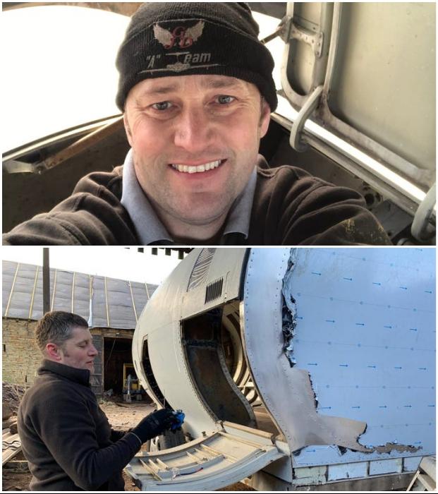 Стив Джонс приобрел списанную турбину реактивного авиалайнера и превратил ее в уютный дом для путешествий. © Steve Jones.