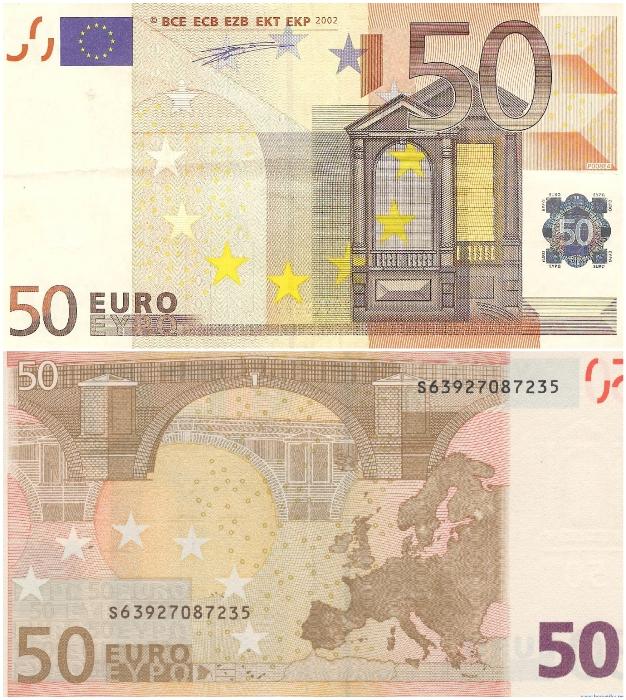 Архитектурный стиль эпохи Ренессанса красуется на банкноте 50 евро. | Фото: raznie.ru/ bonistika.net.