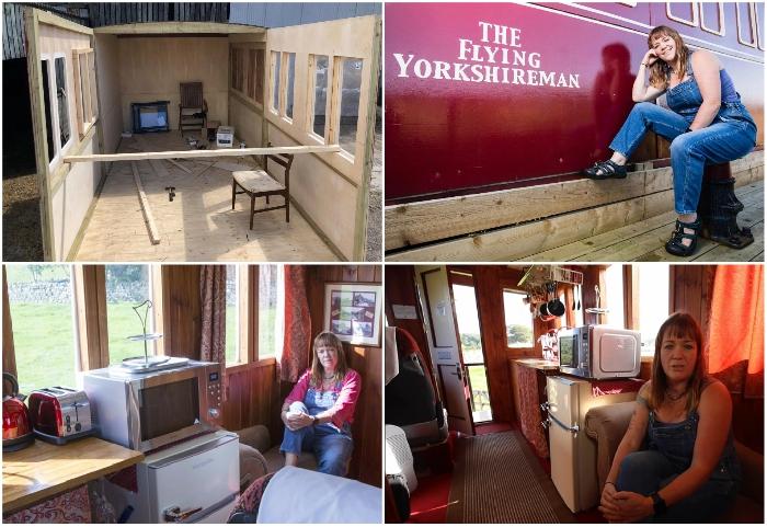 Британка Эмма Хаммонд из вторсырья построила точную копию старинного вагона «Flying Scotsman» (Харрогейт, Великобритания).   Фото: youtube.com/ © Caters Clips.